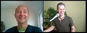 Eugen Simon von Gedankendoping und Alexander Gottwald haben Spaß beim Interview