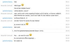 """Skype Chat mit Eugen Simon vor und während des Gedankendoping Interviews zu """"Der Geldplan"""""""