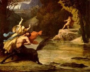 Nessus, der Kentaur mit Deianeira, verfolgt von Herakles