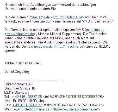 miraclems.de gesperrt - MMS Natriumchlorit kaufenmiraclems gesperrt