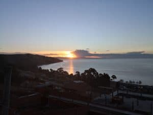 Sonnenuntergang über dem Titicacasee Bolivien